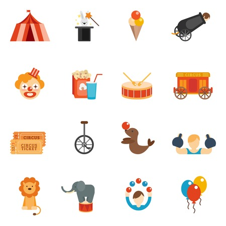 Circus performance icon flat set with tent clown rabbit in hat isolated vector illustration Vectores