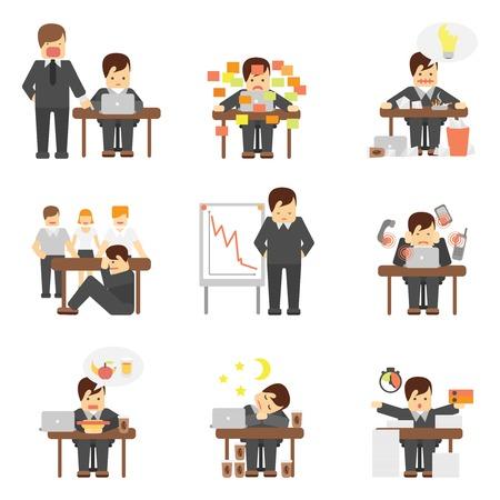 jefe enojado: El estrés en el trabajo resulta caída caracteres gráficos de dibujos animados enojado jefe iconos planos conjunto abstracto ilustración vectorial aislado Vectores