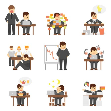 work stress: Stress at work dropping results graphic angry boss cartoon characters flat icons set abstract isolated vector illustration Illustration