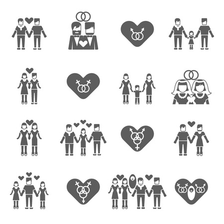black sex: Nontraditional married same sex couples love relationship and child parenting black icons set abstract isolated vector illustrations