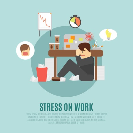 work stress: Stress on work flat icon with overworking employee  man cartoon character fearing angry boss abstract vector illustration