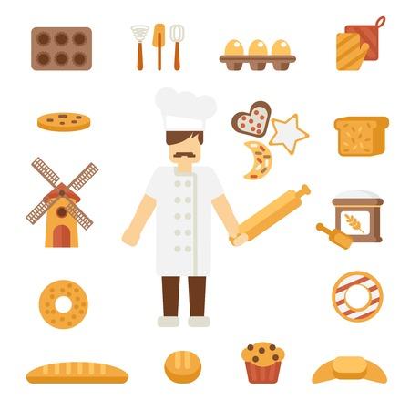 double breasted: Personaje de dibujos animados hombre panader�a profesional que se coloca en la chaqueta de uniforme blanco con balanceo cartel pin ilustraci�n vectorial plana