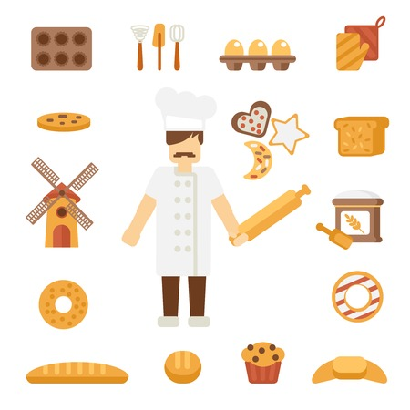 double oven: Professional bakery man cartoon character standing in uniform white jacket  with rolling pin poster flat vector illustration