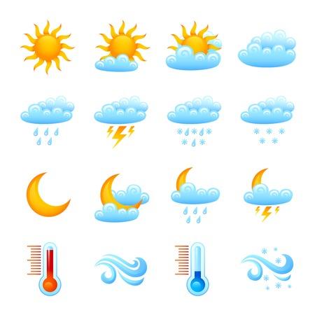 Sito previsioni meteo icona decorativo set sole con nubi pioggia termometro isolato illustrazione vettoriale