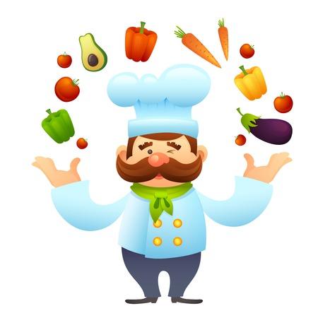 Mannelijke chef-kok restaurant cook karakter jongleert met groenten vector illustratie Stock Illustratie