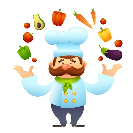 Male chef restaurant cook character juggles with vegetables vector illustration
