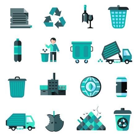 Garbage icons set with recycling symbol bulldozer trash basket isolated vector illustration Illustration