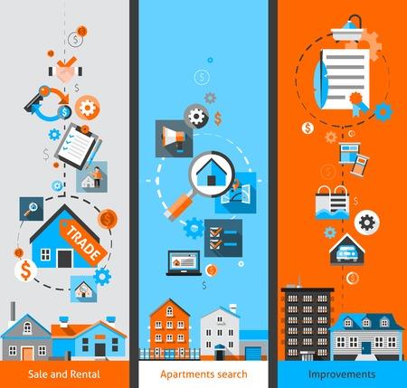 Vastgoed set met verkoop en verhuur appartement zoeken en verbeteringen elementen geïsoleerd vector illustratie verticale banners