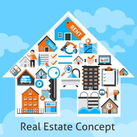 Real estate concept with commercial building residential property decorative icons in house shape vector illustration Illustration