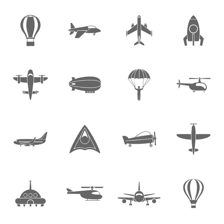 dirigible: Aircraft dirigible and hot air balloon travel pictograms collection with spacecraft rocket abstract black isolated vector illustration