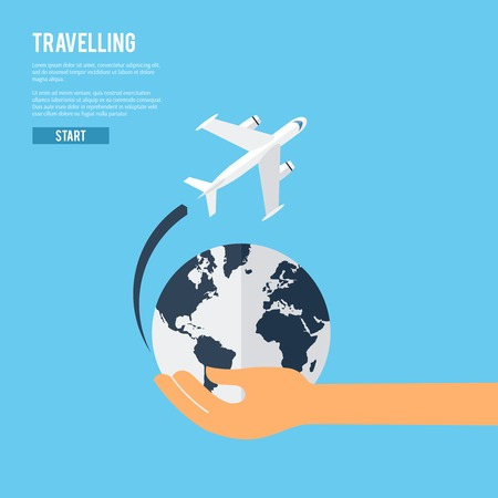 airplane: World travel aircraft jet flying around the earth globe icon  with caring holding hand abstract vector illustration