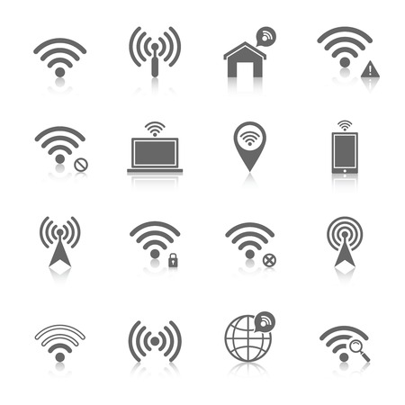 wireless connection: Wifi wireless local network internet connection access points icons set with antenna black abstract isolated vector illustration Illustration
