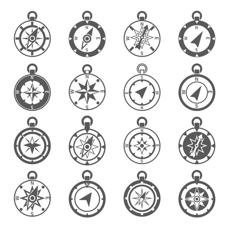 Compass world discovery travel exploration equipment icon black set isolated vector illustration Vettoriali