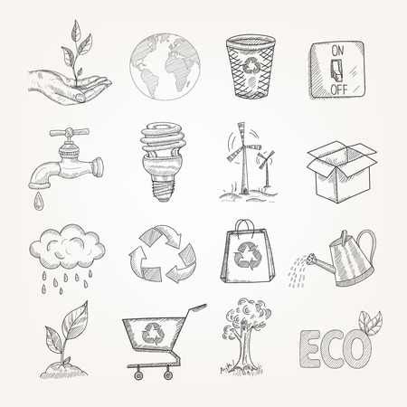 garbage bag: Doodles garbage recycling global conservation ecology icons set isolated vector illustration
