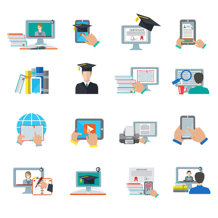 Online onderwijs e-learning digitale afstuderen flat icon set geïsoleerd vector illustratie Stock Illustratie