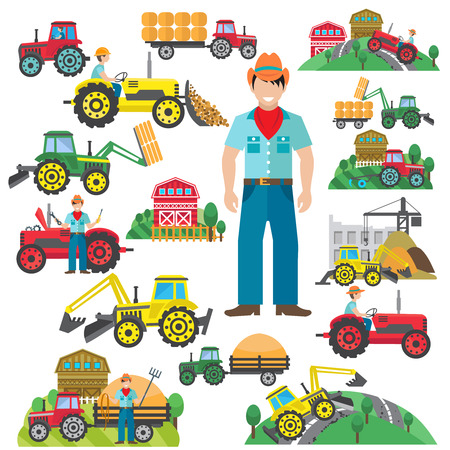Farm tractor and industrial excavator driver icons set flat isolated vector illustration