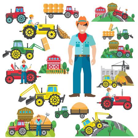 chofer: Tractor agr�cola y conductor de la excavadora industrial iconos conjunto plana aislado ilustraci�n vectorial