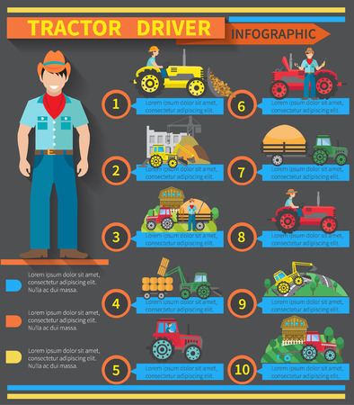 road tractor: Tractor driver infographics set with farm and construction machinery symbols vector illustration Illustration