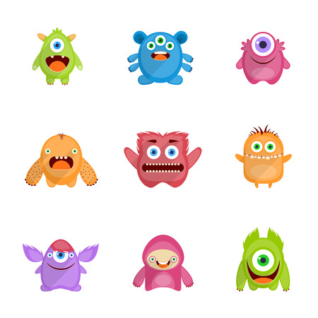 Monsters characters set flat with fun cheerful furious scary angry creatures isolated vector illustration Иллюстрация