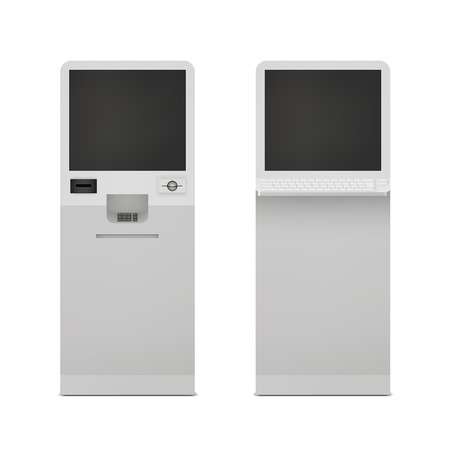 exhibition stand: Realistic information self service terminal computer stand set isolated vector illustration Illustration