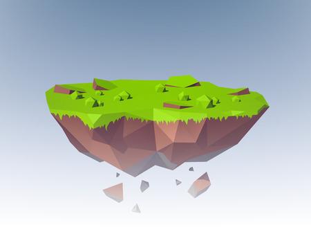island isolated: Polygonal flying island fantasy planet landscape emblem vector illustration