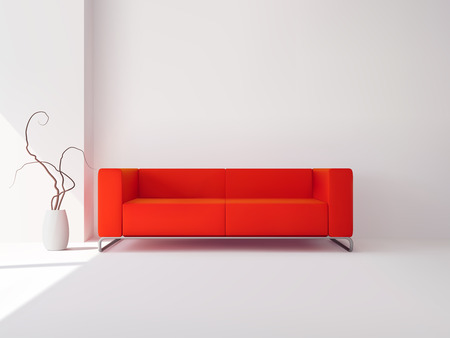 sofa set: Realistic luxury apartment living room interior with red sofa and vase vector illustration