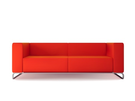 Realistic classic red sofa isolated on white background vector illustration