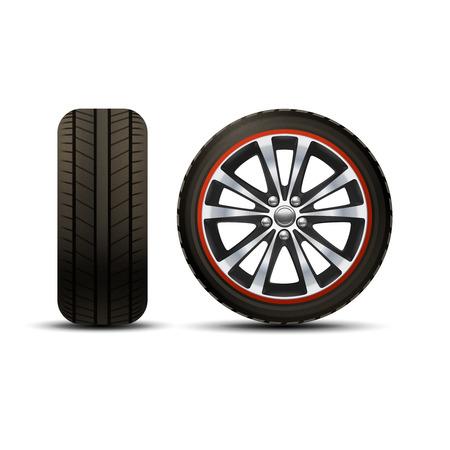 neumaticos: Realista neum�tico brillante rueda de coche disco conjunto aislado ilustraci�n vectorial Vectores