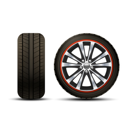 automobile tire: Realistic shining disk car wheel tyre set isolated vector illustration