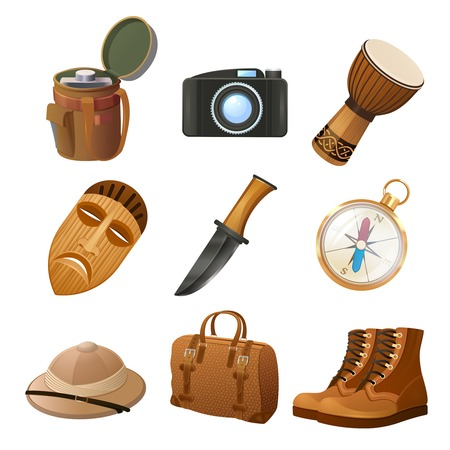 African jungle travel decorative icons set with flask camera drum isolated vector illustration Vector