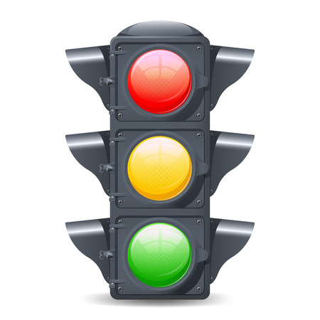 Traffic lights realistic isolated object on white background vector illustration Иллюстрация