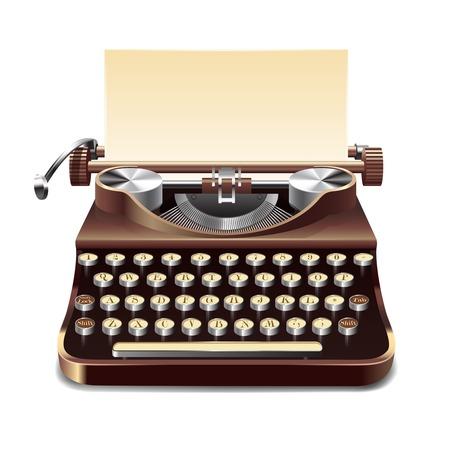 Realista máquina de escribir antigua con la hoja de papel aislado en el fondo blanco ilustración vectorial