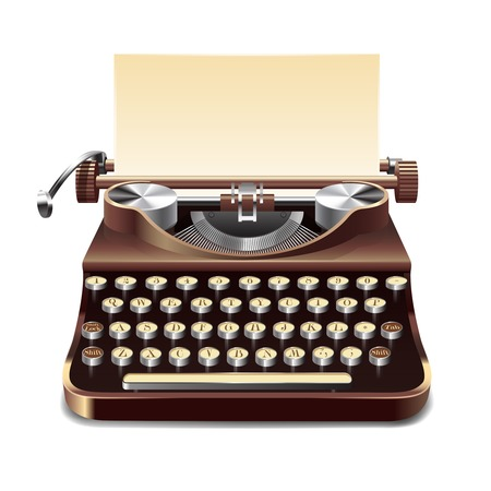 m�quina de escribir vieja: Realista m�quina de escribir antigua con la hoja de papel aislado en el fondo blanco ilustraci�n vectorial