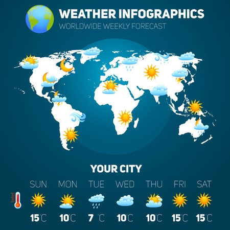 Weather forecast infographic set with meteorology signs and world map vector illustration Illustration