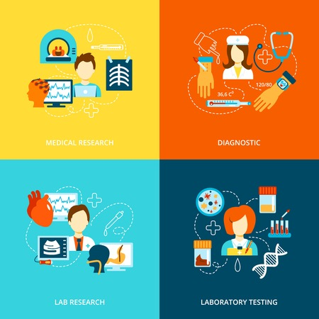 Medical tests health care flat icons set with lab research laboratory diagnostics isolated vector illustration Иллюстрация