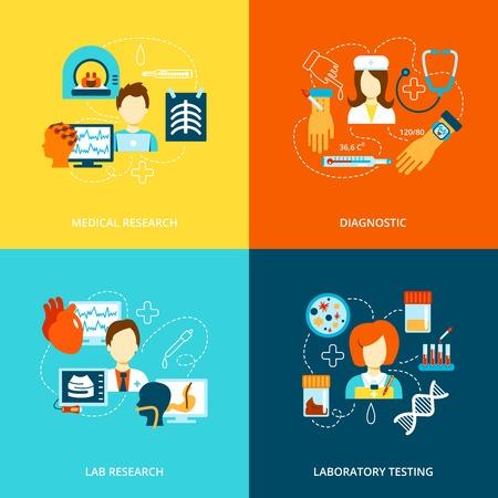 Medische tests gezondheidszorg vlakke pictogrammen set met geïsoleerde lab onderzoek laboratoriumdiagnostiek vector illustratie