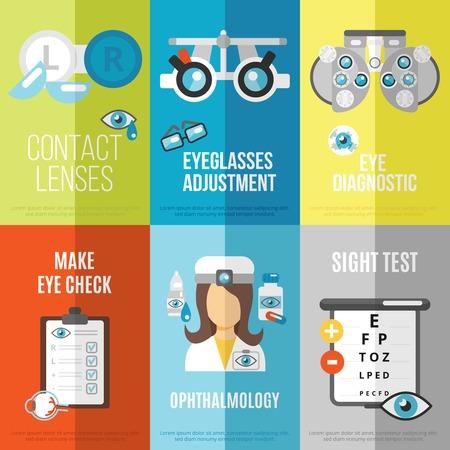lentes de contacto: Mini cartel oculista conjunto con aislado ajuste anteojos prueba oftalmología vista ilustración vectorial Vectores