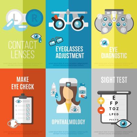 eye exams: Oculist mini poster set with ophthalmology sight test eyeglasses adjustment isolated vector illustration