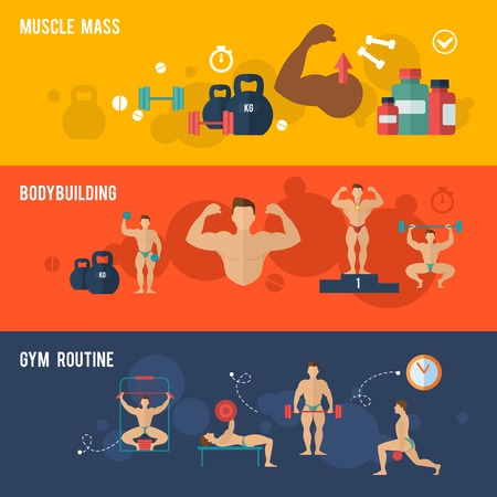 bodybuilding: Bodybuilding horizontal banner set with muscle mass gym routine elements isolated vector illustration Illustration