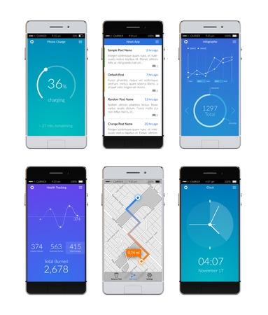 Realistische 3D-smartphones die met ui apps op het scherm geïsoleerd vector illustratie