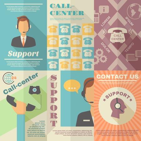 サポート コール センターお問い合わせビンテージ ミニポスター セット分離ベクトル イラスト