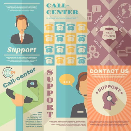 call center office: Support call center contact us vintage mini poster set isolated vector illustration