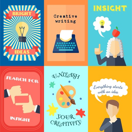 creative writing: Muse bright ideas creative writing and insights mini poster set isolated vector illustration Illustration