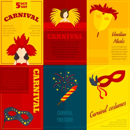 paper mache: Carnival venetian retro style full face and eye feather festive masks icons composition poster vector isolated illustration Illustration