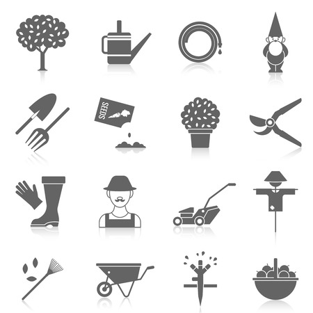 mower: Vegetable garden watering hose black icons set with cartoon character silhouette and scarecrow abstract  isolated vector illustration