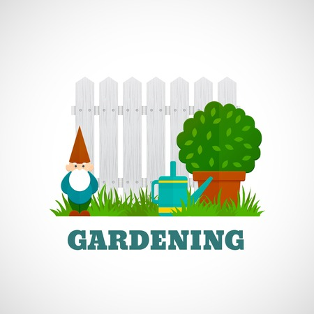 dwarves: Gardening flat poster with dwarf fence and water pot on the lawn vector illustration