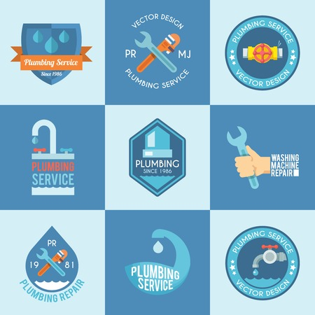 quality service: Plumbing service washing machine repair with a wrench flat labels icons composition design abstract vector isolated illustration Illustration