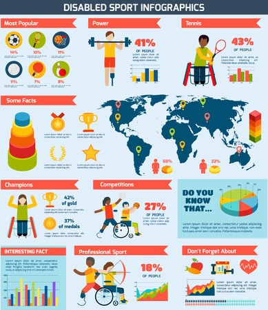 disabled sports: Disabled sports infographics set with playing people charts and world map vector illustration