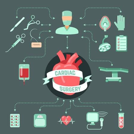 cardiac: Cardiac surgery design concept with human heart and operation icons decorative vector illustration