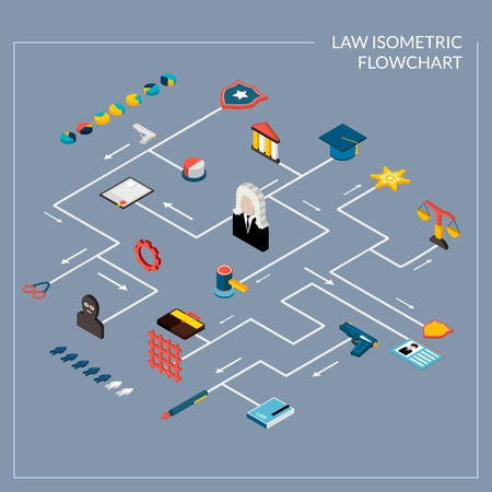 law books: Law isometric flowchart with legislation police and judgment decorative icons set vector illustration Illustration